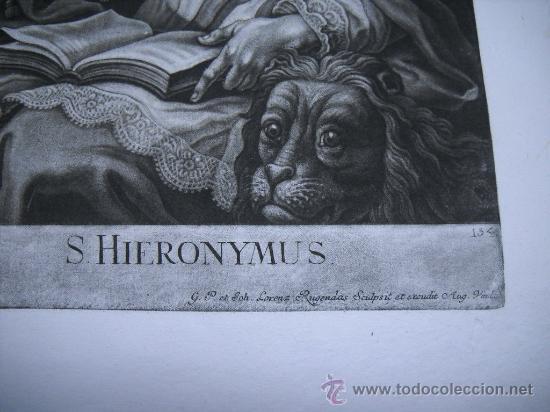Arte: GRABADO S.XVIII S. HIERONYMUS (ST JEROME) J.LORENZ RUGENDAS SCULPSIT ET EXCUDIT AUG. VIND.31X47 - Foto 2 - 26341181