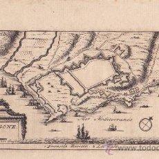 Arte: GRABADO AL BURIL DEL PLANO DE LA FORTALEZA DE TARRAGONA, AÑO 1715. CATALUÑA. Lote 26491662