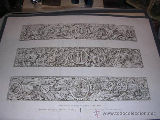 GRABADO AGUAFUERTE, ALEXANDRE LABORDE, MERIDA ,BAS RELIEFS DU TEMPLE DE MARS A MERIDA,(ANTIGUO NO CO (Arte - Grabados - Modernos siglo XIX)