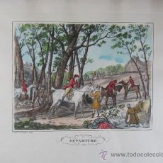 Arte: GRABADO DE C. VERNET. CON ESCENA DE SALIDA A LA CAZA. S.XIX. Lote 27351681