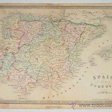 Arte: ANTIGUO GRABADO COLOREADO DE ESPAÑA Y PORTUGAL - SPAIN AND PORGUGAL - POR JAMES WYLD - AÑO 1840 - MI. Lote 27506559
