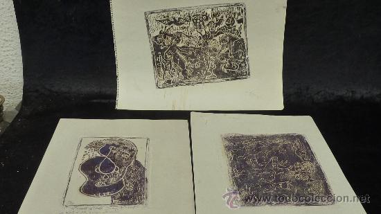 SAÜLO MERCADER. 3 AGUAFUERTES ORIGINALES EN PLANCHA DEL AUTOR. 10/30. VALLDOREIX 1974. (Arte - Grabados - Contemporáneos siglo XX)