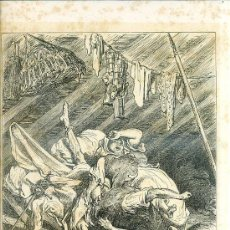 Arte: G. DORÉ - IMPRENTA RIERA (1875) DON QUIJOTE : EL LECHO, QUE ERA...31X44 CM.. Lote 28313107