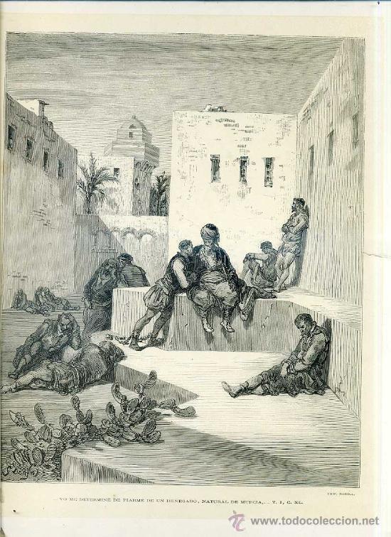 G. DORÉ - IMPRENTA RIERA (1875) DON QUIJOTE : UN RENEGADO, NATURAL DE MURCIA...31X44 CM. (Arte - Grabados - Modernos siglo XIX)