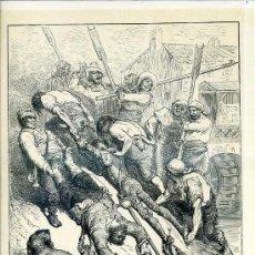 Arte: G. DORÉ - IMPRENTA RIERA (1875) DON QUIJOTE : SI NO FUERA POR LOS MOLINEROS...31X44 CM.. Lote 28313120