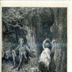 Arte: G. DORÉ - IMPRENTA RIERA (1875) DON QUIJOTE : POR TU VIDA, AMIGO...31X44 CM.. Lote 28313128