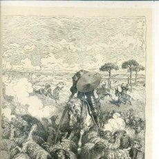 Arte: G. DORÉ - IMPRENTA RIERA (1875) DON QUIJOTE : EL ESCUADRÓN DE OVEJAS...31X44 CM.. Lote 28313142