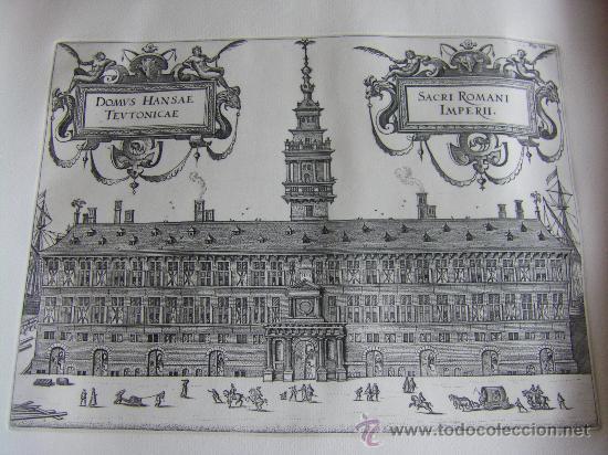GRABADO DE LA CASA DE LA HANSA DE AMBERES, SIGLO XVI-XVII (Arte - Grabados - Antiguos hasta el siglo XVIII)
