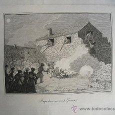 Arte: SIGLO XIX ATAQUE DE UNA CASA CERCA DE GUERNICA GUERRAS CARLISTAS. Lote 28453562