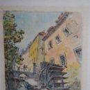 Arte: GRABADO A COLOR - PAISAJE URBANO CON CANAL Y MOLINO - FIRMADO V. BENANI - 1996. Lote 28758335