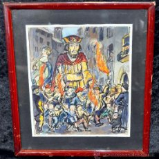 Arte: JOSEP PICÓ MARTÍN (BARCELONA, 1902-1978) GOUACHE. ELS GEGANTS DE CARDONA. Lote 28778893