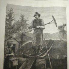 Arte: 90 ITALIA SUIZA CARBONEROS ALPES AÑO 1874 PRECIOSO GRABADO ORIGINAL DE EPOCA XILOGRAFIA. Lote 29102121