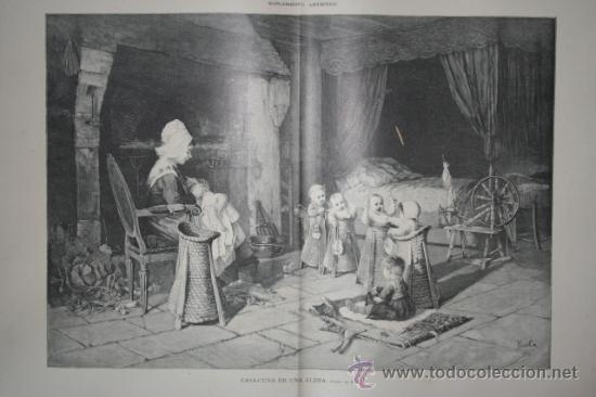 CASA-CUNA DE UNA ALDEA, CUADRO DE HAAG. LA ILUSTRACIÓN ARTÍSTICA. (Arte - Grabados - Modernos siglo XIX)