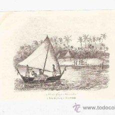 Arte: GRABADO. 1852. 16X11 CM. Nº 1. ISLA DEL GRUPO KRUSENTERN.. Lote 29856681