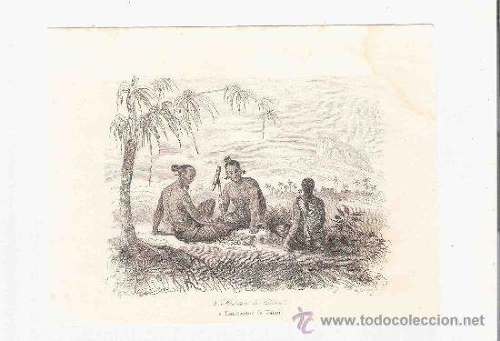 GRABADO. 1852. 16X11 CM. Nº 2. HABITANTES DE UALAN. (Arte - Grabados - Modernos siglo XIX)