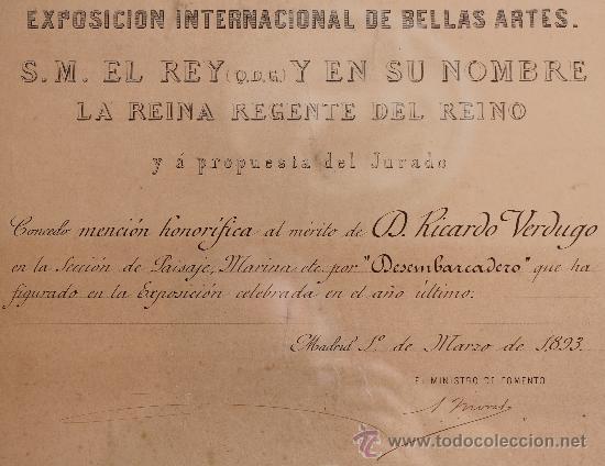 Arte: MALAGA VERDUGO LANDI GRABADO SIGLO XIX DEL PREMIO DE LA EXPOSICION GENERAL DE BELLAS ARTES ENMARCADO - Foto 4 - 222645581