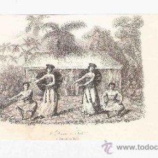 Arte: GRABADO. 1852. 16X11 CM. Nº 2. DANZA EN TAITI. . Lote 29858419