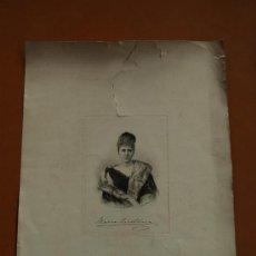 Arte: GRABADO DE REINA MARIA CRISTINA Y FIRMADO POR ELLA. DE BARTOLOMÉ MAURA (HERMANO DE POLITICO). Lote 29880772