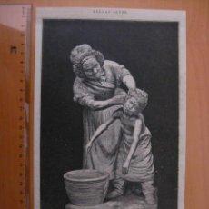 Arte: ¡ PERO QUE SUCIO!ABUELA LAVANDO AL NIÑO. GRABADO DE FINALES DE 1800. Lote 30111072