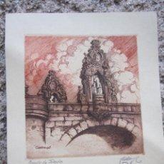 Arte: EXCELENTE GRABADO DE CASTRO GIL- PUENTE DE TOLEDO - LUGO - HUELLA DE LA PLANCHA 14.5X15.5CM. Lote 30211522