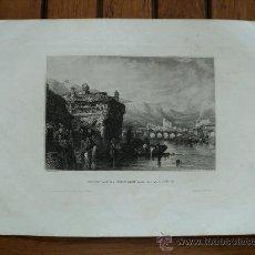 Arte: GRABADO 1840 IRUN PUENTE BIDASOA GUIPUZCOA 26X19 CM.. Lote 30271263