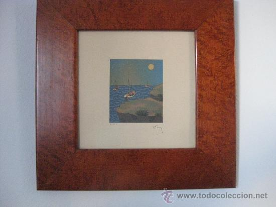 GRABADO O LITOGRAFIA NUMERADO 7/500 Y FIRMADO A LAPIZ PARECE QUE PONE KEY - BIEN ENMARCADO (Arte - Grabados - Contemporáneos siglo XX)