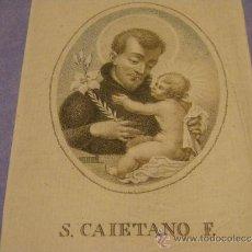 Arte: GRABADO COLOREADO SIGLO XIX, CON LA IMAGEN DE SAN CAYETANO DE THIENE, ESCUELA VALENCIANA.. Lote 30440253