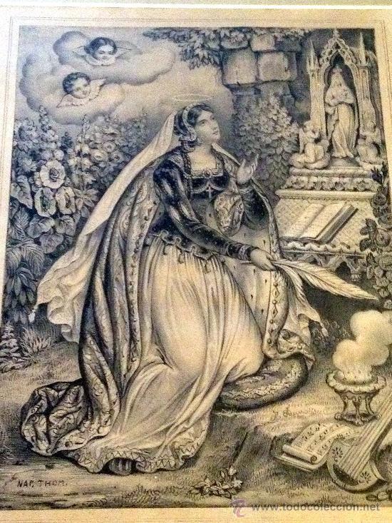 Arte: excepcional grabado antiguo de Santa Rosalía - Foto 2 - 30509117