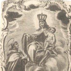 Arte: GRABADO NTRA. SRA. DEL CARMEN S. XVIII SAN ALBERTO ABOGADO DE PARTOS PELIGROSOS,CALENTURAS, VALENCIA. Lote 30602669