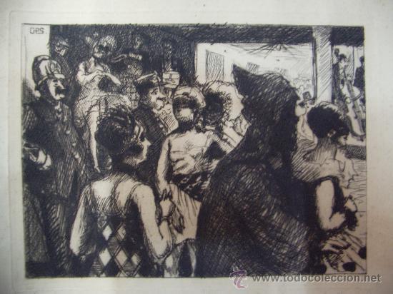 GRABADO AL AGUAFUERTE-BAILE DE DISFRACES (Arte - Grabados - Contemporáneos siglo XX)