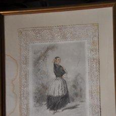 Arte: GRABADO DE MODA LA MANTILLA LA MANTILLE GONET EDITOR PUNTILLA TROQUELADA COLOREADA. Lote 30720501
