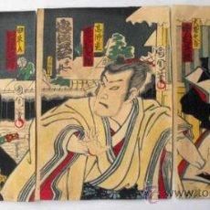 Arte: EXCELENTE TRIPTICO GRABADO JAPONES APROX 1870´S KUNICHIKA . Lote 30867006
