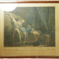 Arte: GRABADO PINTADO 'LE VERROU' GRAVÉ D'APRÈS LE TABLEAU DE H FRAGONARD PEINTRE DU ROI PAR MCE BLOT SXIX. Lote 30996434