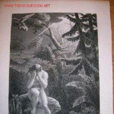 Arte: GRABADO GRANDE SIGLO XIX. ADAN EN EL PARAISO. MUY DECORATIVO. Lote 31089663