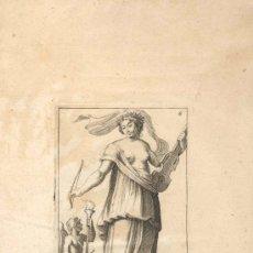 Arte: GRABADO FRANCES ERATO, SIGLO XVI O XVII REPRESENTANDO UNA DE LAS MUSAS DEL ARTE. Lote 31186714