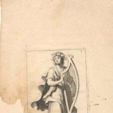 Arte: GRABADO FRANCES TERPSICORE, SIGLO XVI O XVII REPRESENTANDO UNA DE LAS MUSAS DEL ARTE. Lote 31186856