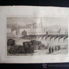 Arte: 1844-PUENTE Y CATEDRAL DE CÓRDOBA. GRABADO ORIGINAL. Lote 31552828
