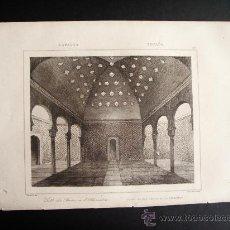 Arte: 1844-SALÓN DE BAÑOS DE LA ALHAMBRA DE GRANADA. GRABADO ORIGINAL. Lote 31554177