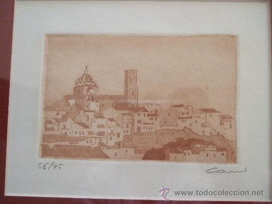 Arte: GRABADO PAISAJE MEDITERRANEO - FIRMADO Y NUMERADO - AÑOS 90 - 44X42 CON MARCO - Foto 2 - 31683891