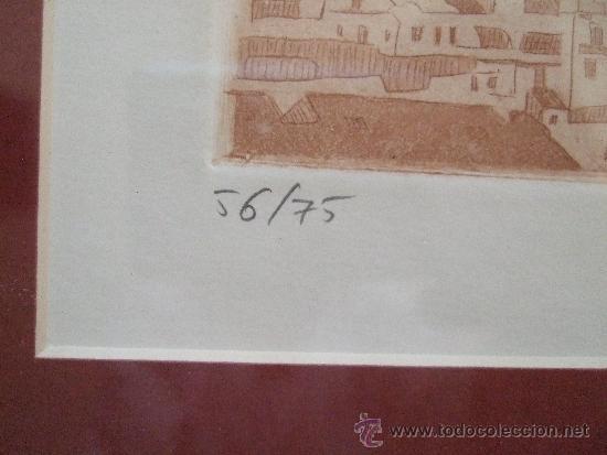 Arte: GRABADO PAISAJE MEDITERRANEO - FIRMADO Y NUMERADO - AÑOS 90 - 44X42 CON MARCO - Foto 3 - 31683891