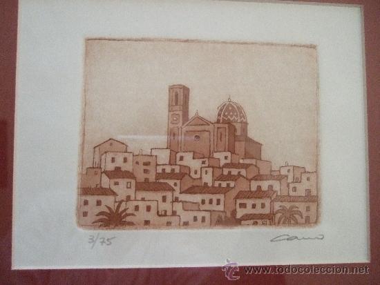 Arte: GRABADO PAISAJE MEDITERRANEO - FIRMADO Y NUMERADO - AÑOS 90 - 44X42 CON MARCO - Foto 5 - 31683836