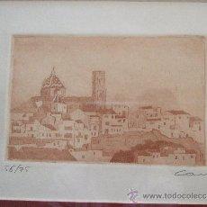 Arte: GRABADO PAISAJE MEDITERRANEO - FIRMADO Y NUMERADO - AÑOS 90 - 44X42 CON MARCO. Lote 31683891