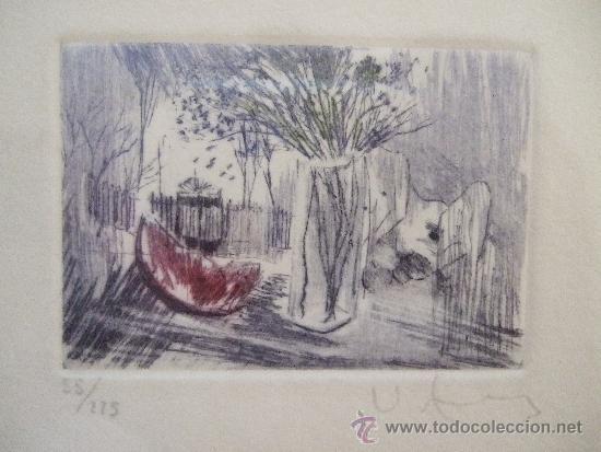 GRABADO PEQUEÑO BODEGON CON SANDIA - FIRMADO Y NUMERADO - ENMARCADO 29X34,5 (Arte - Grabados - Contemporáneos siglo XX)