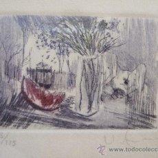 Arte: GRABADO PEQUEÑO BODEGON CON SANDIA - FIRMADO Y NUMERADO - ENMARCADO 29X34,5. Lote 31689415