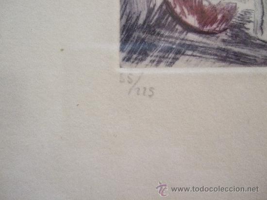 Arte: GRABADO PEQUEÑO BODEGON CON SANDIA - FIRMADO Y NUMERADO - ENMARCADO 29X34,5 - Foto 3 - 31689415