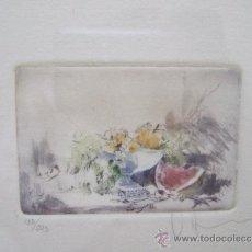 Arte: GRABADO PEQUEÑO BODEGON CON SANDIA - FIRMADO Y NUMERADO 135/225 - ENMARCADO 27X33. Lote 31689456