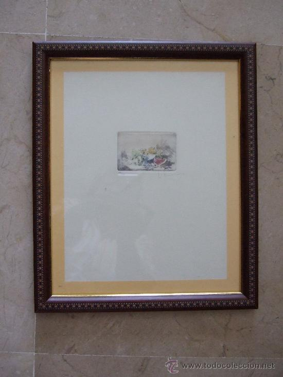 Arte: GRABADO PEQUEÑO BODEGON CON SANDIA - FIRMADO Y NUMERADO 135/225 - ENMARCADO 27X33 - Foto 2 - 31689456