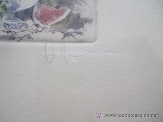 Arte: GRABADO PEQUEÑO BODEGON CON SANDIA - FIRMADO Y NUMERADO 135/225 - ENMARCADO 27X33 - Foto 4 - 31689456