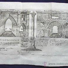Arte: DOS PÓRTICOS DE ANTINOL, EN EL ALTO EGIPTO. ANDRADE SCULP. AÑO 1757. Lote 31917686