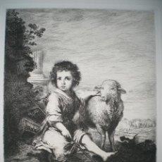 Arte: AGUAFUERTE SOBRE PINTURA DE MURILLO. (LE DIVIN BERGER), GRABADO POR WALTNER. . Lote 32187923